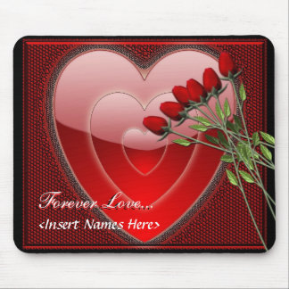 Forever Love Heart and Roses Mouse Pad