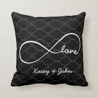 Forever Love with light gray quaterfoil background Throw Pillow