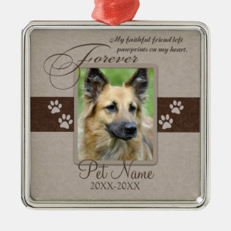 Forever Loved Pet Sympathy Silver-Colored Square Ornament