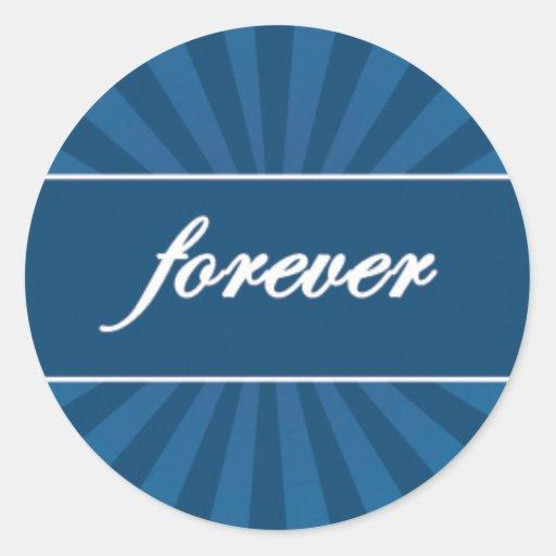 Forever on Blue Starburst Round Sticker