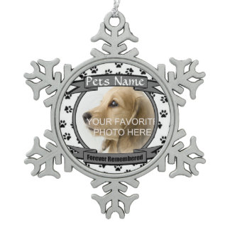 Forever Remembered Dog or Cat Memorial Pewter Snowflake Ornament