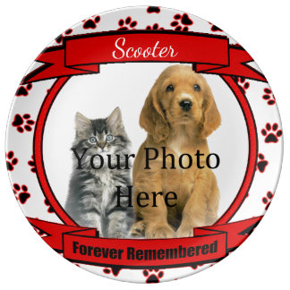 Forever Remembered Red Pet Memorial Porcelain Plate