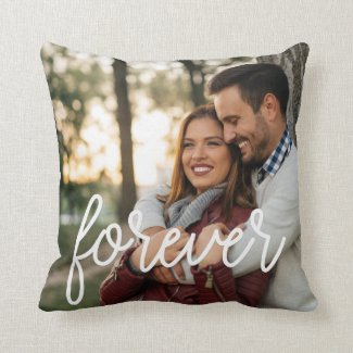 Forever Script Overlay Photo Throw Pillow