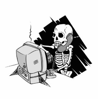 forever skeleton on hold tech support photo cutout
