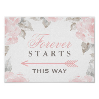 Forever Starts This Way Sign | Watercolor Roses