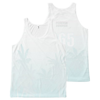 FOREVER SUMMER 365 White Ice Fade Palm Trees All-Over-Print Tank Top