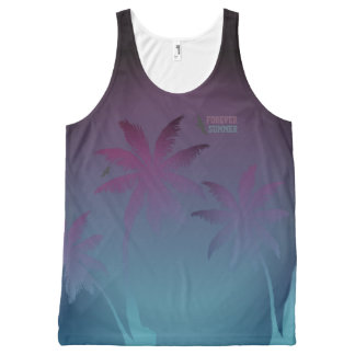 Forever Summer Purple Blue Fade Night Sky Palms All-Over-Print Tank Top