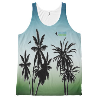 Forever Summer Teal Blue Green Fade Palm Trees All-Over-Print Tank Top