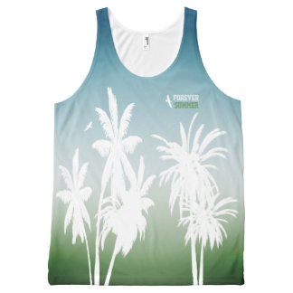 Forever Summer Teal Blue Green Fade White Palms All-Over-Print Tank Top