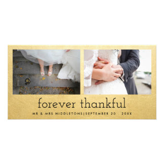 Forever Thankful Faux Gold Foil Two Photos Wedding Photo Card