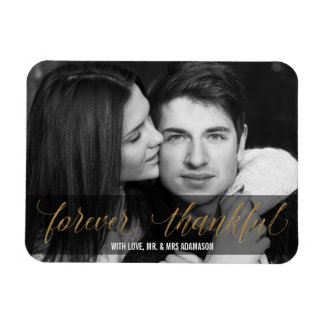 Forever Thankful   Gold Wedding Thank You Script Magnet