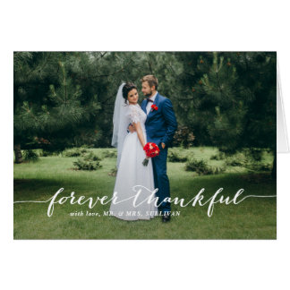 Forever Thankful Hand Lettered Wedding Thank You 2 Card