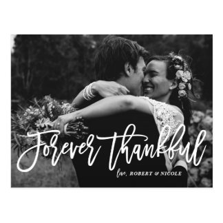 Forever Thankful Hand Lettered Wedding Thank You Postcard