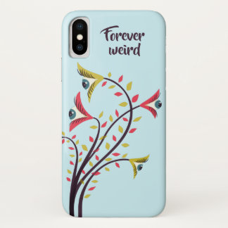 Forever Weird Colorful Flowers Staring Eyes iPhone X Case