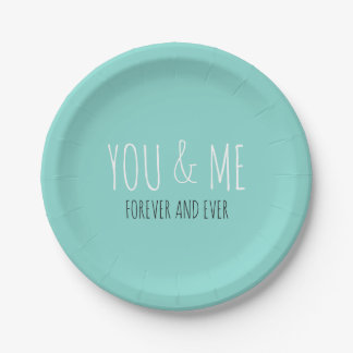 Forever You And Me Teal Blue Party Plates
