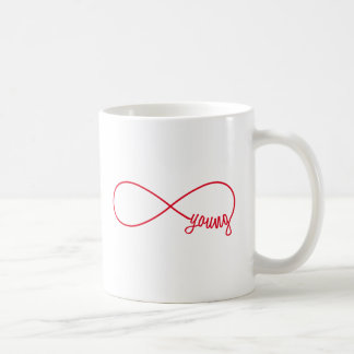 forever young, red infinity sign coffee mug