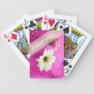 Forever yours pink/purple colored cactus flower poker deck