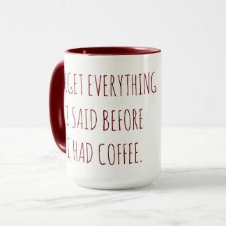 Forget Everything I Said Before I had Coffee Mug