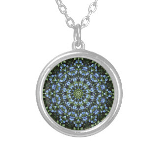 Forget Me Not 001 01, Forgetmenot, Nature Mandala Silver Plated Necklace