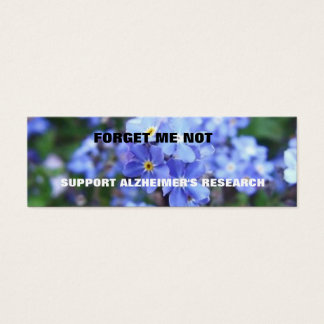 FORGET ME NOT ALZHEIMER'S BOOKMARK MINI BUSINESS CARD