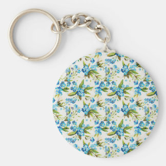 Forget-Me-Not Basic Round Button Keychain