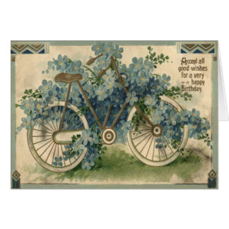 Forget Me Not Bicycle Birthday Card