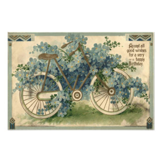 Forget Me Not Bicycle Birthday Photo Print