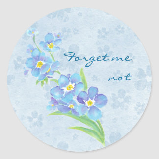 Forget me not Custom Watercolor Garden Flower Round Sticker