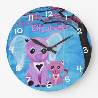 Forget Me Not Cute Elephant Cat Cherry Blossom Art Large Clock