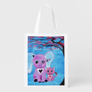Forget Me Not Cute Elephant Cat Cherry Blossom Art Reusable Grocery Bag