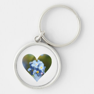 Forget-Me-Not Flower Cluster Heart Keychain