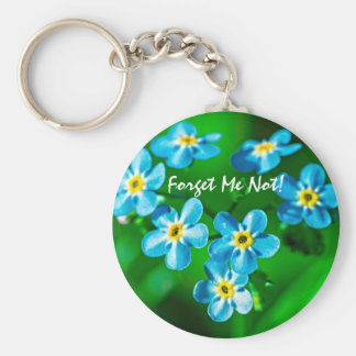 Forget-me-not flowers basic round button keychain