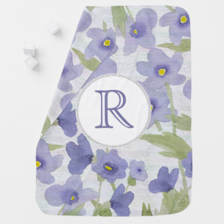 forget-me-not-flowers monogram blanket swaddle blankets