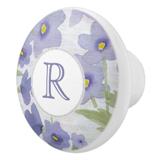 forget-me-not-flowers print floral pattern ceramic knob