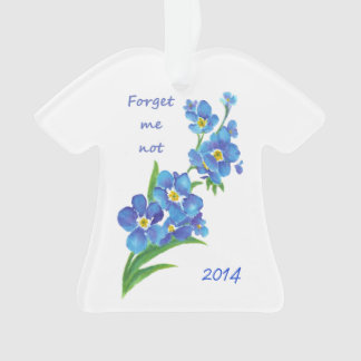 """Forget me Not"" Flowers Quote Custom Dated Ornament"