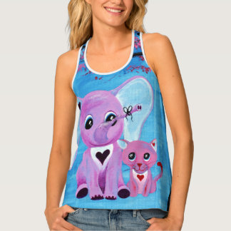 Forget Me Not Pink Elephant Cat Blossom Tree Art Tank Top