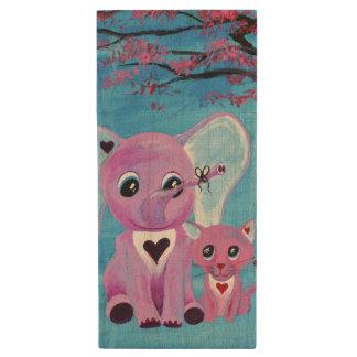 Forget Me Not Pink Elephant Cat Cherry Blossom Art Wood USB Flash Drive