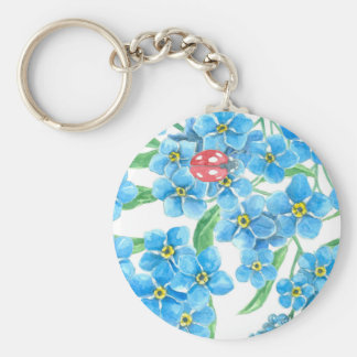 Forget me not seamless floral pattern basic round button keychain