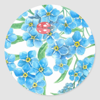 Forget me not seamless floral pattern classic round sticker