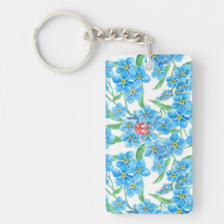 Forget me not seamless floral pattern Double-Sided rectangular acrylic keychain