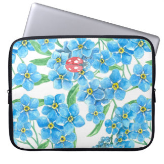 Forget me not seamless floral pattern laptop sleeve