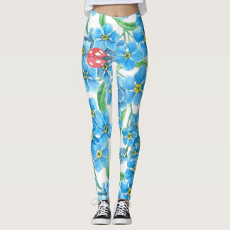 Forget me not seamless floral pattern leggings