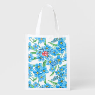 Forget me not seamless floral pattern reusable grocery bags