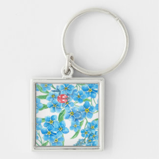 Forget me not seamless floral pattern Silver-Colored square keychain