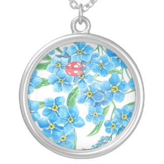 Forget me not seamless floral pattern silver plated necklace