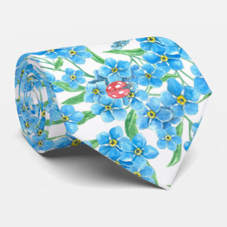 Forget me not seamless floral pattern tie