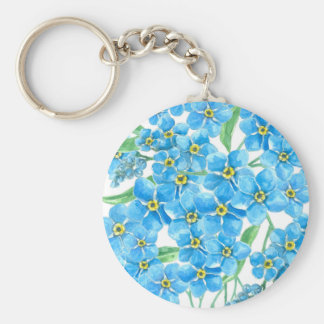 Forget me not seamless pattern basic round button keychain