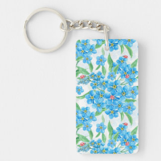 Forget me not seamless pattern Double-Sided rectangular acrylic keychain