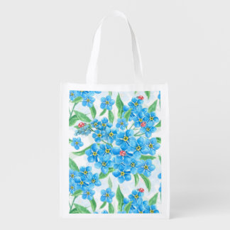 Forget me not seamless pattern reusable grocery bag