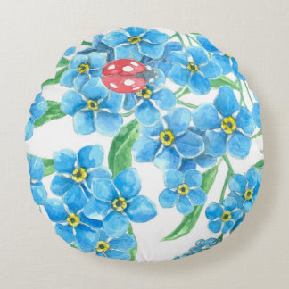 Forget me not seamless pattern round pillow